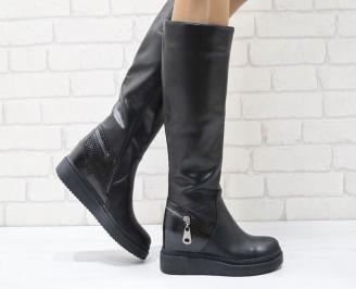 Дамски ежедневни ботуши черни от еко кожа PYAC-24974