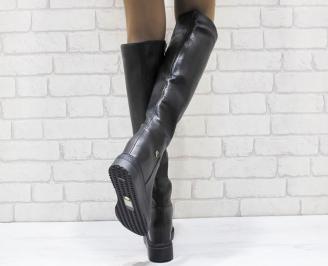 Дамски ежедневни ботуши черни еко кожа DOQL-24978