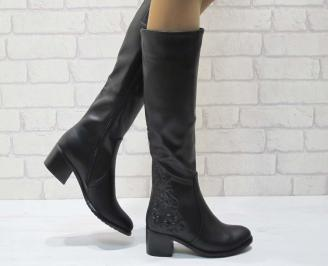 Дамски ежедневни ботуши черни от еко кожа YJTU-25063