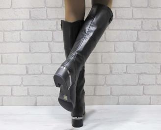 Дамски ежедневни ботуши черни от еко кожа GMOD-25065