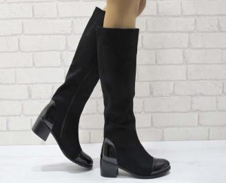 Дамски ежедневни ботуши черни от еко велур UWHQ-25070