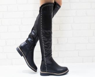 Дамски ежедневни ботуши черни от еко кожа WXWG-25225