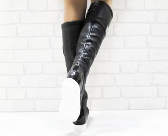 Дамски ежедневни ботуши черни от еко кожа/лак FPAU-25338