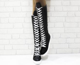 Дамски ежедневни ботуши черни от еко кожа QYNO-25339