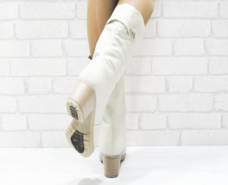 Дамски ежедневни ботуши бежови еко кожа CPZF-25358
