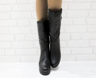 Дамски ежедневни ботуши черни еко кожа NHGE-25360