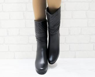 Дамски ежедневни ботуши черни еко кожа DVTA-25362