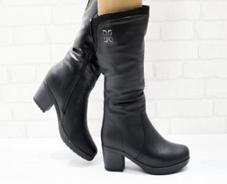 Дамски ежедневни ботуши черни еко кожа GWAY-25363