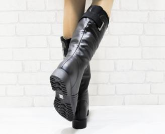 Дамски ежедневни ботуши черни еко кожа ITJR-25364