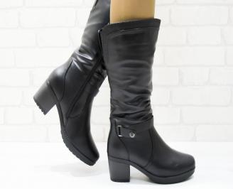 Дамски ежедневни ботуши черни еко кожа PQVI-25365
