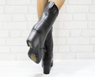 Дамски ежедневни ботуши черни еко кожа PGTA-25366