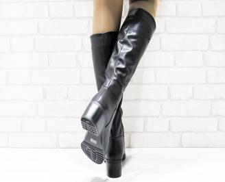 Дамски ежедневни ботуши черни от еко кожа UJXX-25442