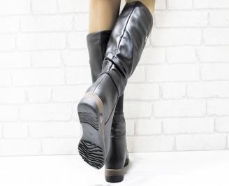 Дамски ежедневни ботуши черни от еко кожа RSFP-25460