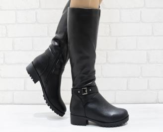 Дамски ежедневни ботуши черни от еко кожа RKOI-25660