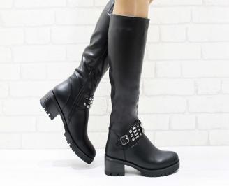 Дамски ежедневни ботуши черни от еко кожа ZDSB-25692
