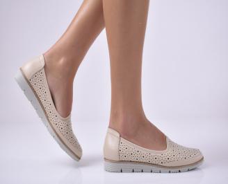 Дамски ежедневни обувки естествена кожа бежови LLFN-1013672