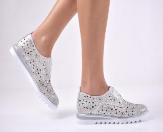 Дамски ежедневни обувки естествена кожа сребрист DQRC-1013716