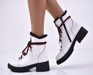 Дамски ежедневни обувки естествена кожа  бели UVOU-1014406