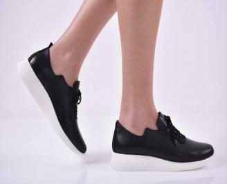 Дамски ежедневни обувки естествена кожа черни  GFHN-1014842