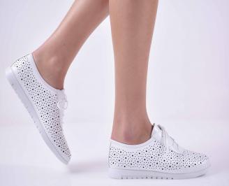 Дамски ежедневни обувки естествена кожа бели  RRHQ-1014845