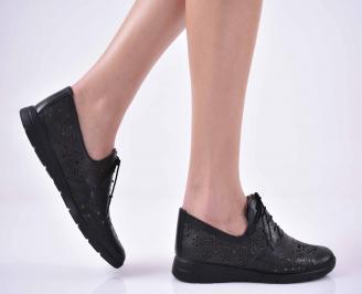Дамски ежедневни обувки естествена кожа черни  RBDW-1014849