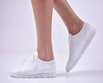Дамски ежедневни обувки естествена кожа бели  JTWU-1015039