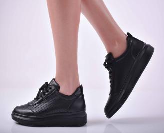 Дамски ежедневни обувки естествена кожа черни  MVBQ-1015044