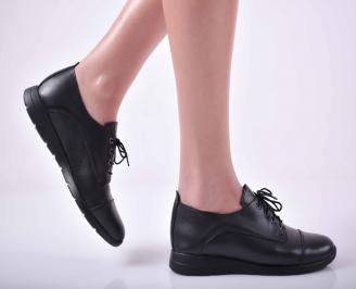 Дамски ежедневни обувки естествена кожа черни  YLGX-1015045