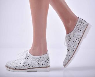Дамски ежедневни обувки естествена кожа бели  UUQX-1015046