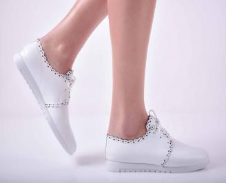 Дамски ежедневни обувки естествена кожа бели  RWMP-1015063