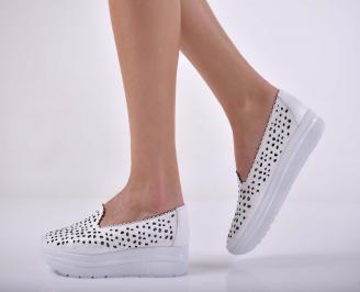 Дамски ежедневни обувки естествена кожа бели  QDUG-1015195
