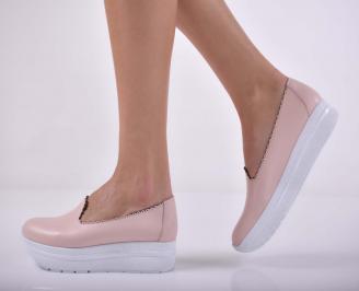 Дамски ежедневни обувки естествена кожа пудра  PZRJ-1015196
