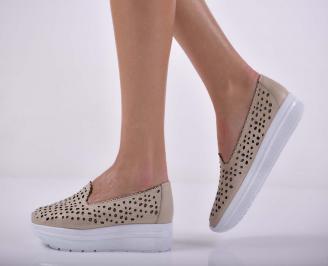 Дамски ежедневни обувки естествена кожа бежови  CWOR-1015199