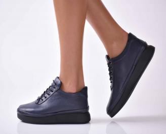 Дамски ежедневни обувки естествена кожа сини  RBJA-1016031