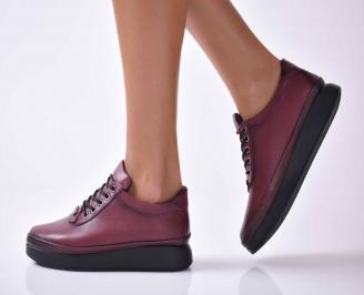Дамски ежедневни обувки естествена кожа бордо  FBJZ-1016032