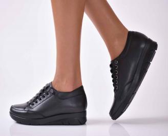 Дамски ежедневни обувки естествена кожа черни  PWPU-1016034