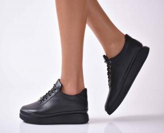 Дамски ежедневни обувки естествена кожа черни  UHQI-1016035