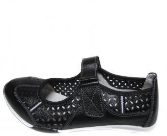 Дамски ежедневни обувки естествена кожа черни OMPW-20943