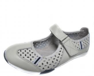 Дамски ежедневни обувки естествена кожа бели IRGF-20944
