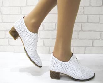 Дамски ежедневни обувки естествена кожа бели KKBG-22875