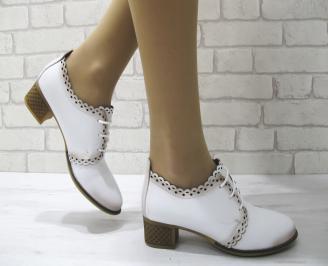 Дамски ежедневни обувки естествена кожа бели CTLV-22884
