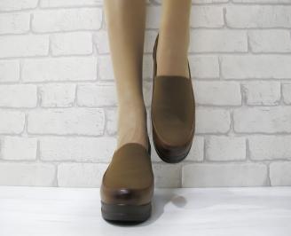 Дамски ежедневни обувки еко кожа кафяви EICU-22897