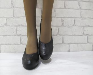 Дамски ежедневни обувки естествена кожа черни ZJCV-23147