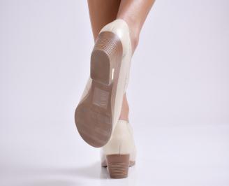 Дамски ежедневни обувки  бежови естествена кожа KCJM-23515