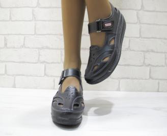 Дамски ежедневни обувки  черни естествена кожа KWXT-23516
