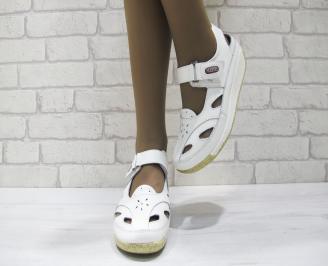 Дамски ежедневни обувки бели естествена кожа JBOG-23517