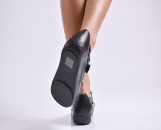 Дамски ежедневни обувки  черни естествена кожа NYSX-23518