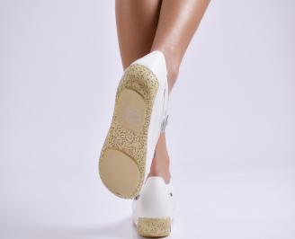 Дамски ежедневни обувки  бели естествена кожа QGGC-23520