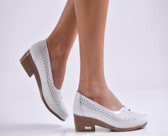 Дамски ежедневни обувки  бели естествена кожа WVUZ-23523