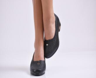 Дамски ежедневни обувки черни естествена кожа IBNH-23524